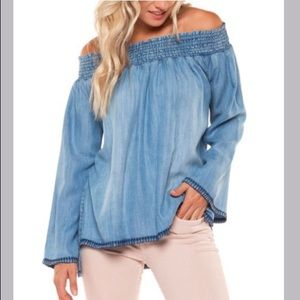 Dex Off the Shoulder Chambray Top
